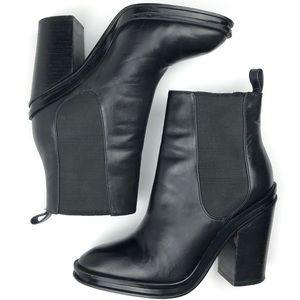 ALDO Black Leather Heeled Chelsea Ankle Boots